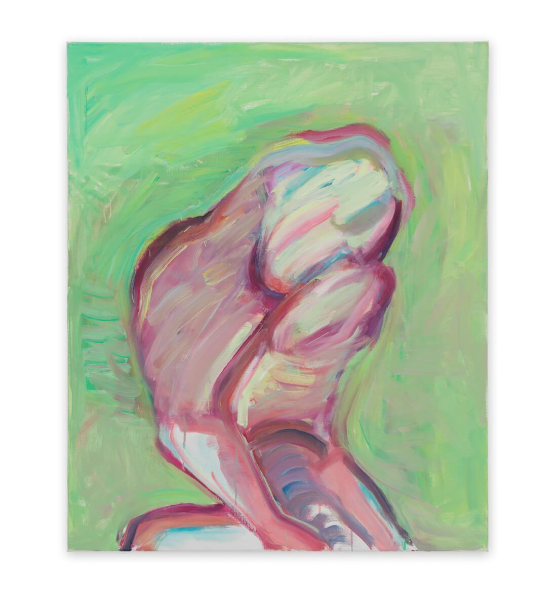 Hellgrünes Selbst / Bedrücktes Selbst / Malflussselbstportrait <br>(Light-Green Self / Sad Self / Self – Portrait in Paint Flow)