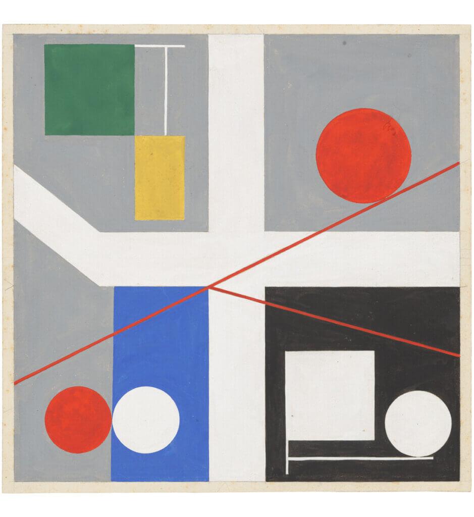 Quatre espaces à cercles rouges roulants <br>(Four spaces with red rolling circles)