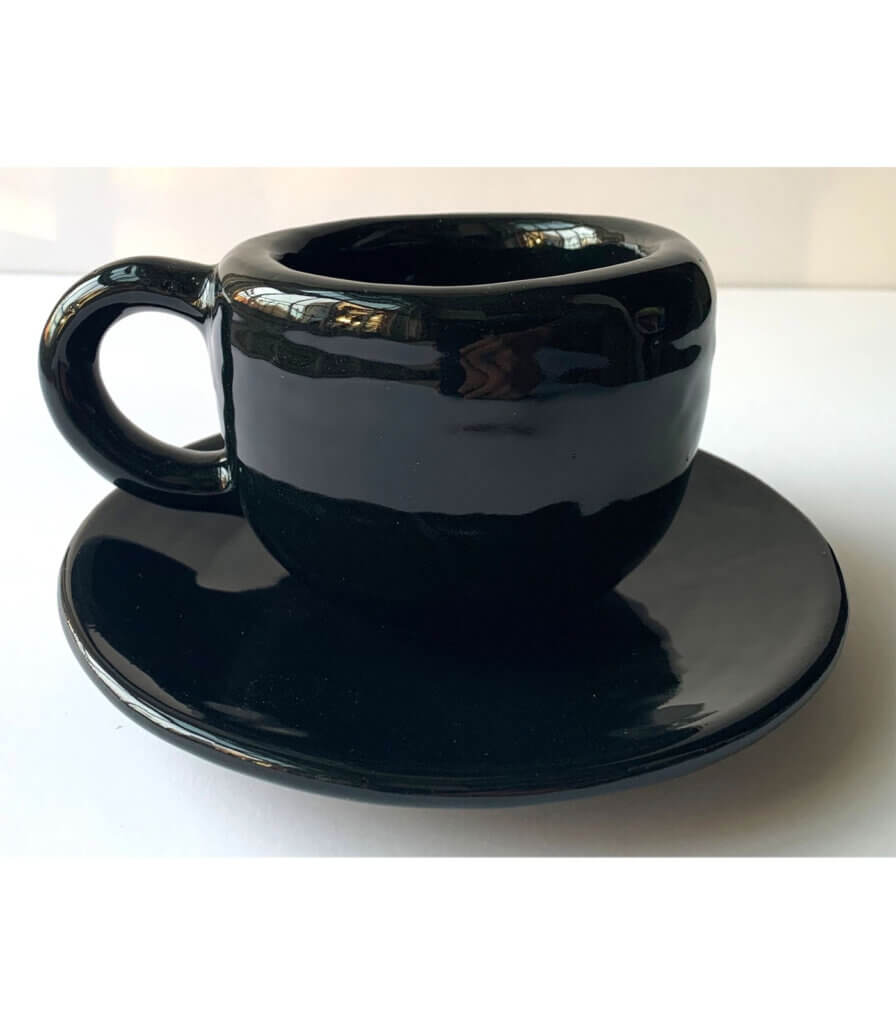 Black Cup and Saucer [B]
